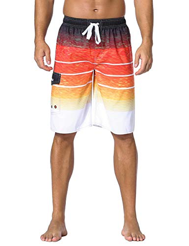 Nonwe Men's Swimwear Holiday Drawstring Quick Dry Striped Board Shorts Orange Striped 28