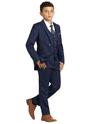 Paisley of London, Jungen Anzug Dunkelblau, Kariert, Slim-Fit-Anzug, Pagenanzüge Jungs, 9 Jahre
