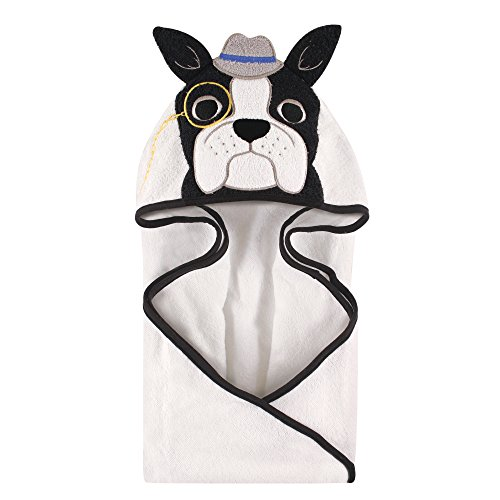 Hudson Baby Unisex Baby Cotton Animal Face Hooded Towel, Dapper Dog, One Size