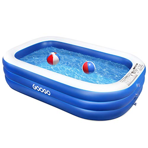 Googo Family Inflatable Swimming Pool, 92x56x20 inch Inflatable Lounge Above Ground Pool for Kiddie, Kids, Toddlers, Adults, Easy Set Swimming Pool for Age 3+, Backyard, Summer Water Party, Outdoor