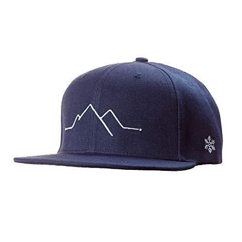 Snapback Caps Herren & Damen - Cap Berge, Mountain- Schwarzwald Cap, Black Forest Cap - Einheitsgröße, one Size - Cap mit Stick (Dark Blue)