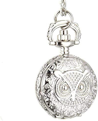 Liuqingzhou Co.,ltd Reloj de Bolsillo Hombres Mujeres Reloj de Bolsillo de Cuarzo Vintage Reloj de Pulsera Unisex con Cadena de eslabones Collar búho Colgante Reloj Regalos