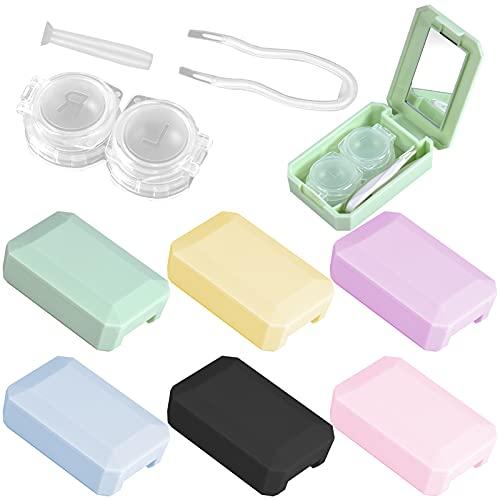 6 Pièces Étui Lentilles de Contact, Portable Kit de Voyage Mini Lentilles Boite avec Miroir, Support de Conteneur et Pince à Épiler Pour Voyager à l'Extérieur