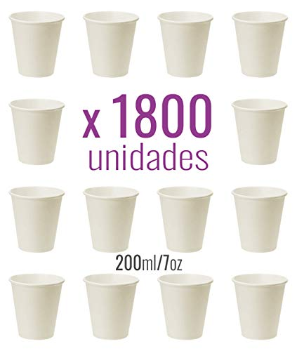 Monteluz -Vasos de Cartón Desechables, Biodegradables, Aptos para Cafés o Refrescos - Color Blanco - Pack 1800 Unidades (1800, 200ml)