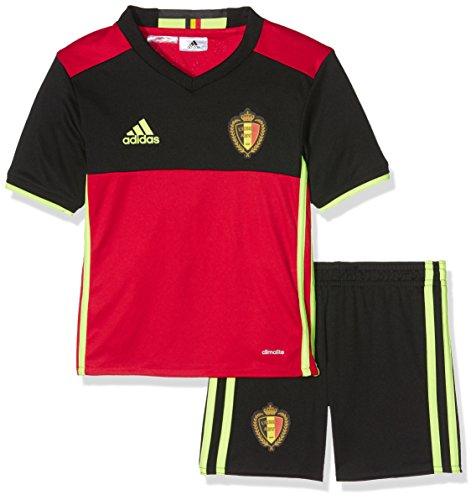 adidas Jungen Fußball/Heim-ausrüstung Belgien Mini Shorts Set, scarle/black/syello, 98, AA8738