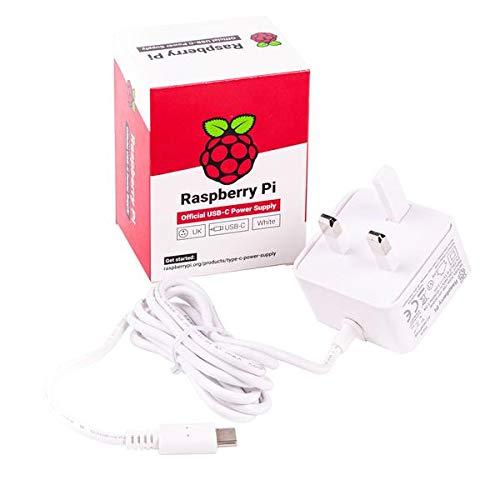 Raspberry Pi 4 Official USB-C Power Supply White UK plug