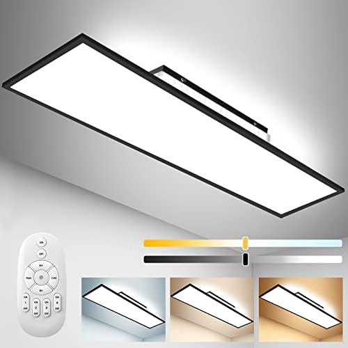 Dimmbar LED Deckenleuchte Panel 120x30 cm mit Backlight, 55W Deckenlampe mit Fernbedienung, Indirekt Stark Leuchtkraft Licht, Warm Natur Kalt Tageslichtlampe für Büro Werkstatt Garage Wohnzimmer Küche