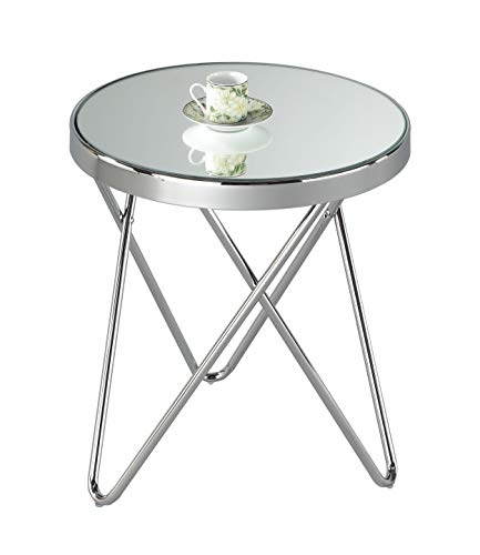 Aspect PUCCINI Top Side End Lamp Table (Chrome/Mirror), Alloy Steel, 42.5diameter x46(H) cm