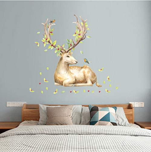 GVFTG Mooie Wapiti Muurstickers eland muurkunst Home Decor Nieuwste Kerstmis DIY vinyl muurkunst sticker decoratie dier vogel sticker 60 x 90 cm