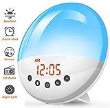 Wake Up Light Alarm Clock - Smart Sunrise Sunset Simulation Reloj digital LED con radio FM, 8 tonos de alarma, función de repetición, brillo 30, lámpara de noche de 7 colores
