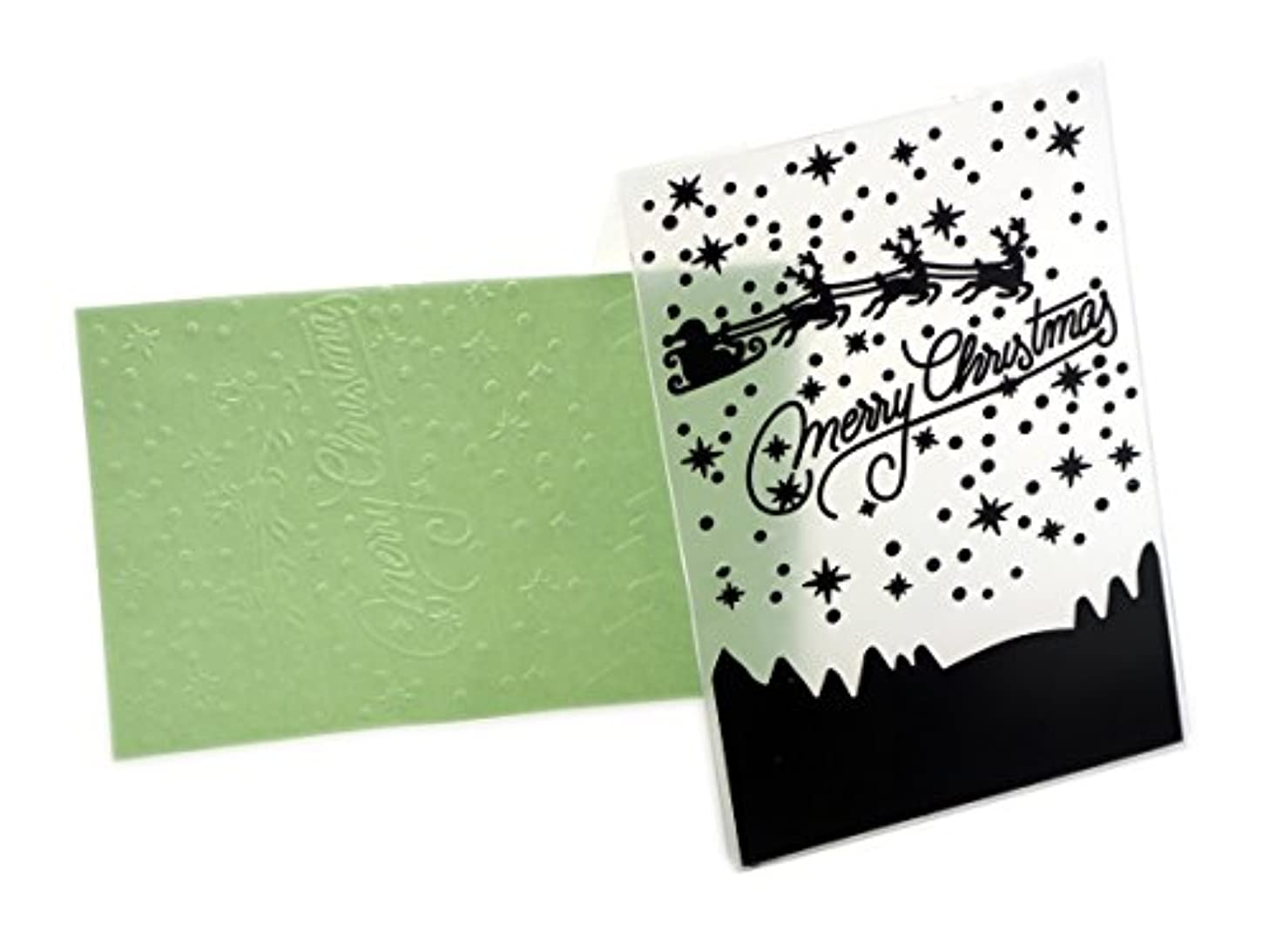 Creationtop Lines Plastic Embossing Folder for DIY Scrapbooking Card Making Supplies Embossing (Merry Christmas)