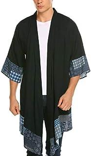 COOFANDY Men's Ruffle Shawl Collar Cotton Cardigan Kimono Long Jackets Open Front Drape Cape Coat