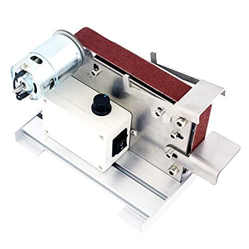 Zdcdy Lijadora De Banda Eléctrica, Lijadora De Lijado con 4500-9000 RPM Velocidad Variable, 10 Bandas De Lija 30x533mm, Pulidora De Mesa Ajustable para Pulir Madera/acrílico/Metal