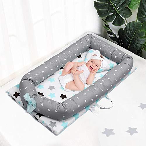 Nido de Bebé Dormir Recien Recién Nacido, Mooedcoe Cama Tumbona de Bebé Portátil de Viaje, Bebé Cuna Sueño, Respirable, Algodón 100% con Almohada 48 x 82.8cm (0-24 meses)