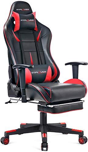 GTPLAYER Gaming Stuhl Bürostuhl Schreibtischstuhl Kunstleder Gamer Stuhl Drehstuhl höhenverstellbarer PC Stuhl Ergonomisches Design mit Fußstütze und Wippfunktion (Red)