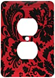 Duplex Receptacle Outlet Wallplate 1 Gang Outlet Covers Red & Black Damask Large Print Stylish Floral Gothic Bold Elegant Burlesque Inspired Pattern Classic Beadboard Decorator Unbreakable Faceplate