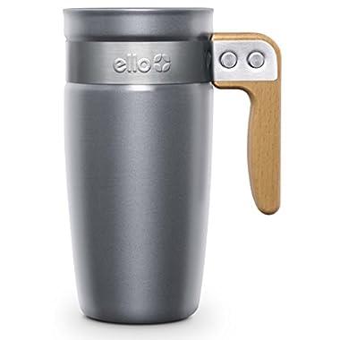 Ello 782-0629-040 Fulton BPA-Free Ceramic Travel Mug with Lid, Grey, 16 oz.