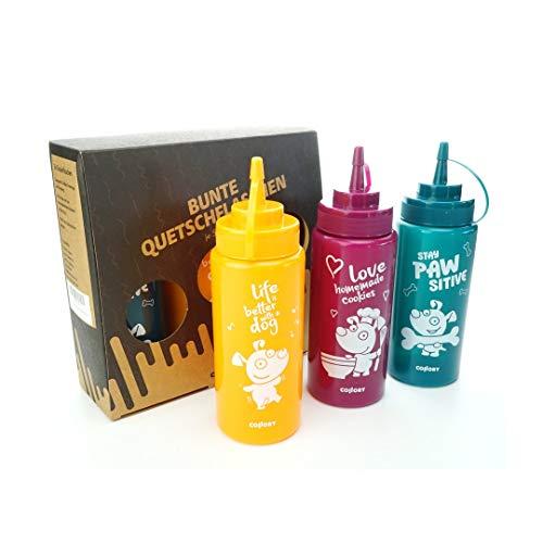 Collory Quetschflaschen Set (3 Flaschen je 500ml), farbige Dosierflaschen für Saucen, Dressing, Ketchup, Senf, Mayo und Flüssigteig, Gewürzflasche, extra Soft, Motiv Hund