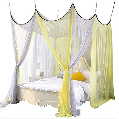 GANG 4 Esquina Post Bed Bed Tabler Cover Mosquito Net Ropa de Cama O Al Aire Libre Repelente Fit Dwin, Full, Queen, Rey Bed Protection, Full Portátil/King