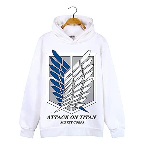 Anime Attack on Titan Hoodies, Unisex Cosplay Levi Ackerman/Eren Jaeger Print Hooded Sweatshirts, Shingeki No Kyojin White Hooded Sweater Attack on Titan 3-2XL