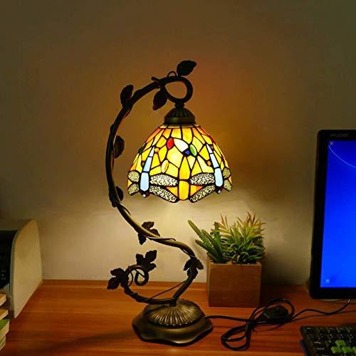DIMPLEY Lámparas de Escritorio Tiffany Mesa de Cristal Mesa de vidrieras Lectura Banquero de Cristal de Cristal Azul Azul Amarillo Dragonfly Style Shades para Sala de Estar