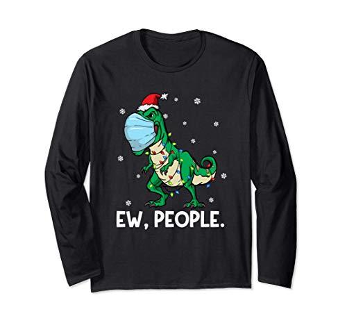 Mascarilla T Rex Santa   Navidad divertida del dinosaurio Manga Larga