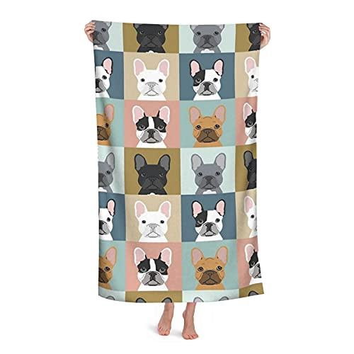 Lightweight Beach Towel 52 x 32 inch French Bulldog Frenchie Portraits Dogs Puppy Pet Oversize Microfiber Pool Swim Towels Wrap for Swimming Yoga Camping