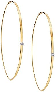 Small Flat Magic Diamond Hoop Gold Earrings