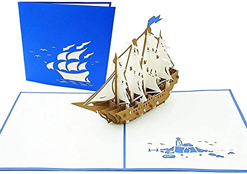 PopLife Sailboat Tall Ship Pop Up Card for All Occasions - Happy Birthday, Graduation, Congratulations, Retirement, Anniversary, Fathers Day - Boaters, Pirates, Ocean Lovers - Folds Flat for Mailing