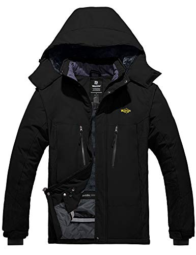 Wantdo Men's Ski Rain Jacket Waterproof Snow Sportswear Winter Coat Black XL