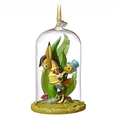 2018 Disney Sketchbook Pinocchio Jiminy Cricket Riding Seahorse Glass Dome Ornament