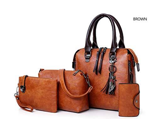 SMACO Weibliches Shoulder Bag Set Luxus-Ledertasche Set 4 Stück/von Luxus-Damen Messenger-Tasche,Orange