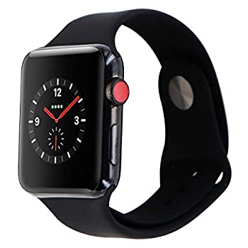 Apple Watch Series 3  GPS + Cellular 42MM  - Space Black Stainless Steel Case with Black Sport Band  Renewed