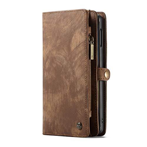 Custodia a Portafoglio Samsung S9, Cover multifunzionale con tasche per carte di credito e d'identità, Marrone