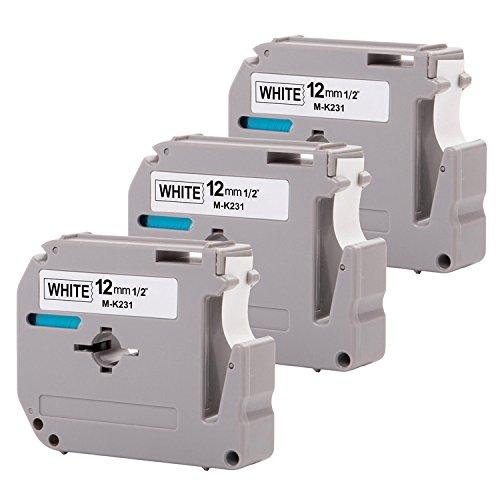 3-Pack Compatible P-Touch M Tape M631 MK631 M-K631 M-631 Label Tape, Replace for P Touch PT-70BM,PT-M95,PT-90,PT-70,PT-65,PT-70SR,PT-85, 1/2 Inch x 26.2 Feet(12mm x 8m),Black on White