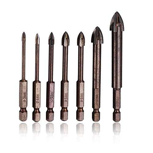 7 PCS Tungsten Carbide Tile Glass Drill Bits Set, 4 Cutting Edges Cross Spear Head Masonry Drill Bit Set for Ceramic Tile Cutter, Marble Drilling Bits, Glass Drill Bits, 3mm, 4mm 5mm 6mm 8mm 10mm 12mm