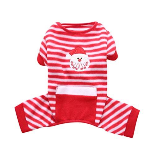 POPETPOP Pijamas de Perro de Navidad Rayas de patrón de Santa Ropa de Dormir para Mascotas Vestido de casa para...