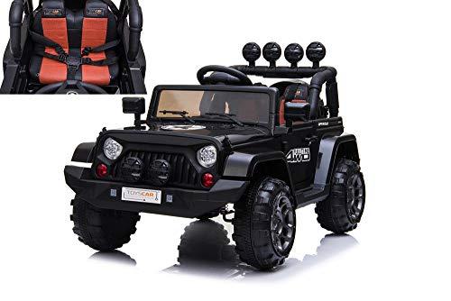 TOYSCAR electronic way to drive Auto Macchina Elettrica Fuoristrada Adventure per Bambini Nera 12V MP3 LED con Telecomando Full Optional Sedili in Pelle