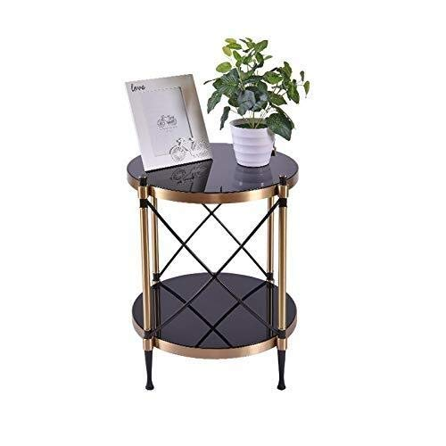 JIAHE115 Draagbare kleine salontafel Nordic metalen rand, marmeren salontafel klein appartement woonkamer salontafel ideeën, kleine slaapkamer woonkamer salontafel kleine ronde tafel