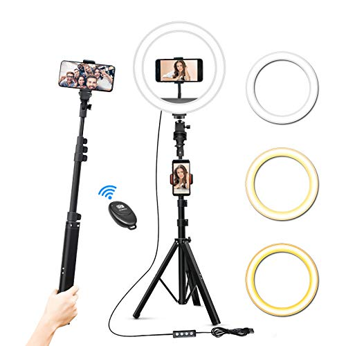 "10 Inch Selfie Ring Light with Tripod Stand & 3 Phone Holders, 63"" Extendable Tripod Stick for Photography/Makeup/Live Streaming/YouTube/Social Media, Compatible with iPhone/Android/Camera"