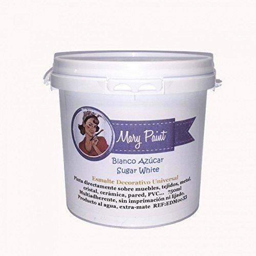 Mary Paint   Pintura para muebles efecto Chalk Paint, Blanco Azúcar - 750ml