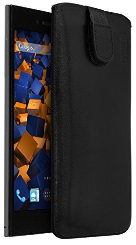 mumbi Echt Ledertasche kompatibel mit Wiko Highway Star Hülle Leder Tasche Hülle Wallet, schwarz