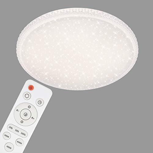 Briloner Leuchten LED Deckenleuchte mit Sternendekor und transparenten Kristallen, Deckenlampe dimmbar, Fernbedienung, inkl. Nachtlicht, Timer-& Memoryfunktion, Weiß, Ø 59,5cm, 48 W