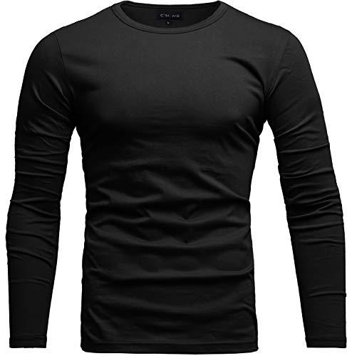 Crone Essential Basic Herren Slim Fit Langarm Rundhals Shirt Longsleeve T-Shirt Sweatshirt in vielen Farben (M, Schwarz)