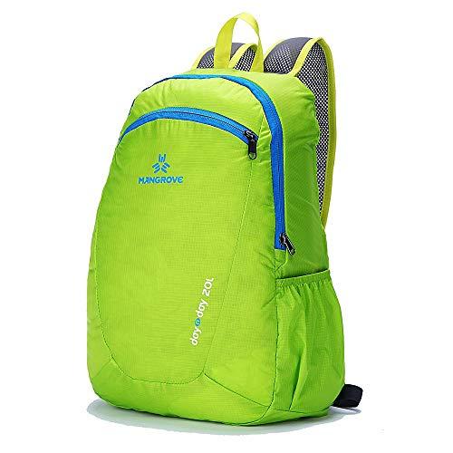 折りたたみ リュック バックパック MANGROVE デイバッグ 20L 軽量 防水 通気性抜群 70Dナイロン生地 旅行バッグ トラベル、ショッピング、アウトドア、登山、遠足、ハイキング適用 (44 * 29 * 16cm, グリーン)