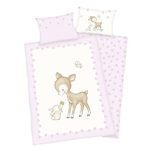 Juego de ropa de cama para bebé (3 piezas, reversible, 100 x 135 cm + 40 x 60 cm + 1 sábana bajera de 70 x 140 cm), diseño de ciervo, color blanco