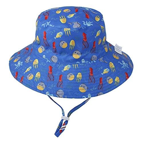 Shihuawu Sombrero para el Sol de algodón para niños, Sombrero de Verano para niña, Protector Solar para la Playa, Sombrero de Cubo para niño, Sombrero de Pescador de Verano, pez-50-54cm-G1209
