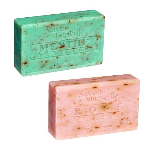 Jabones naturales artesanales de Marsella, limpiadores e hidratantes perfectos como jabón de manos, jabón facial y corporal, elaborados con glicerina vegetal, hojas de menta y pétalos de rosa (2u)
