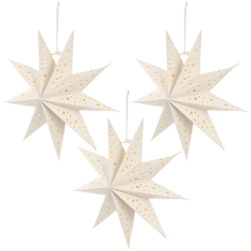 SOLUSTRE 3 Stücke Papierstern Lampe 35cm Papier Weihnachtssterne mit Beleuchtung 3D Leuchtstern Fensterdeko Stern Weihnachten Beleuchtet Christbaumspitze für Neujahr Silvester Party Deko