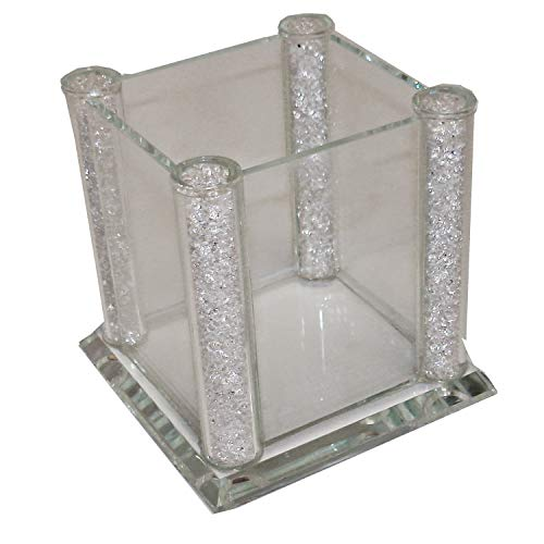 Elegant Crystal Filled Utensil Holder, Table Top, Pencil Holder, Flower Vase, Organizer -Comes in Beautiful Gift Box
